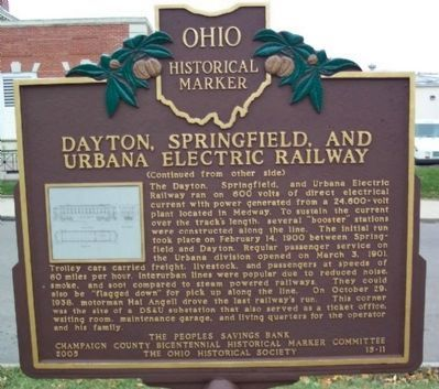 Dayton, Springfield, and Urbana Electric Railway Marker </b>(reverse) Photo, Click for full size