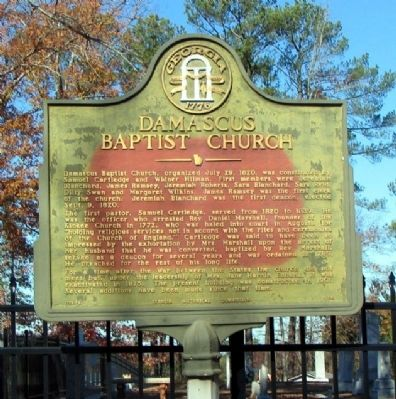 Damascus Baptist Church Marker image. Click for full size.