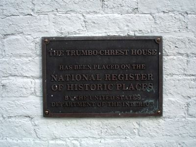 The Trumbo-Chrest House NRHP Plaque image. Click for full size.