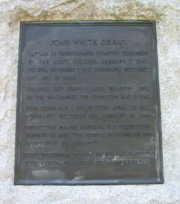 John White Geary Monument Front Plaque Photo, Click for full size