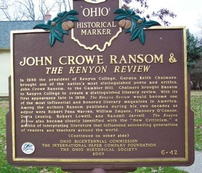 John Crowe Ransom Marker (side A) image. Click for full size.