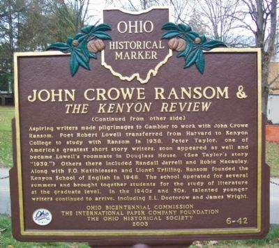 John Crowe Ransom Marker (side B ) image. Click for full size.