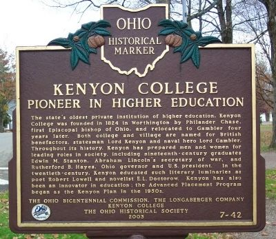 Kenyon College Marker image. Click for full size.