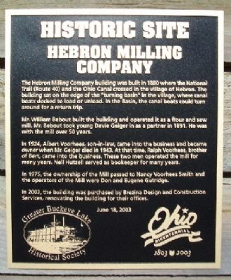 Hebron Milling Company Marker image. Click for full size.