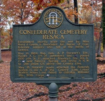 Confederate Cemetery Resaca Marker image. Click for full size.