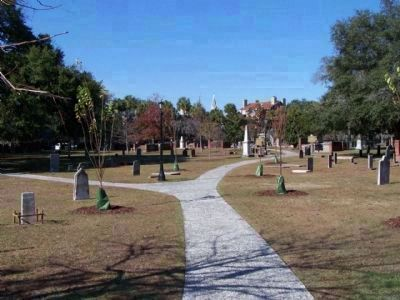 Colonial Park Cemetery, looking west, Some Savannah skyline in background image. Click for full size.