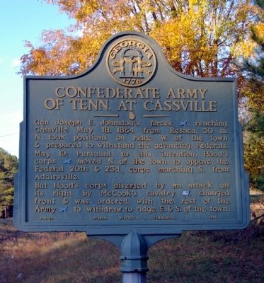 Confederate Army of Tenn. at Cassville Marker image. Click for full size.