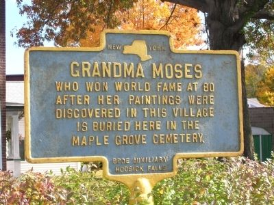 Grandma Moses Marker - Hoosick Falls, New York image. Click for full size.