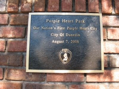 The Purple Heart Marker plaque/dedication image. Click for full size.