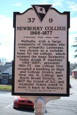 Newberry College Marker - Reverse image. Click for full size.
