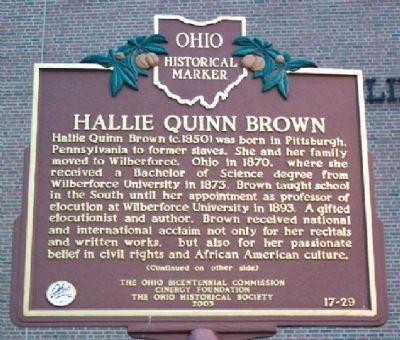Hallie Quinn Brown Marker (side A) image. Click for full size.