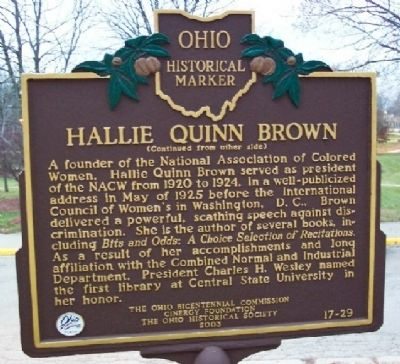 Hallie Quinn Brown Marker (side B) image. Click for full size.