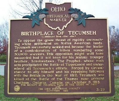 Birthplace of Tecumseh Marker </b>(reverse) image. Click for full size.
