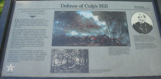 Defense of Culp's Hill Marker image. Click for full size.
