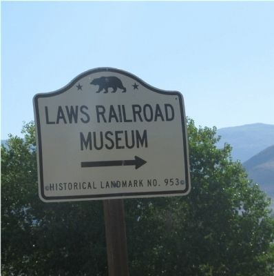 Laws Railroad Museum State Landmark Directional Sign image. Click for full size.