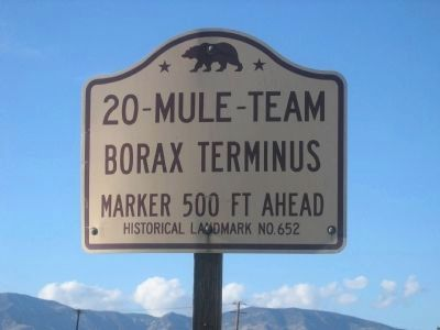 Mojave 20-Mule Team Borax Terminus State Landmark Directional Sign image. Click for full size.