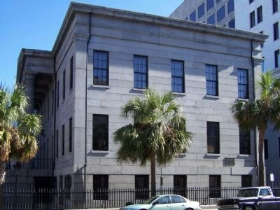 John Wesley Marker (r), on Bull St., near Bay St. in Savannah image. Click for full size.