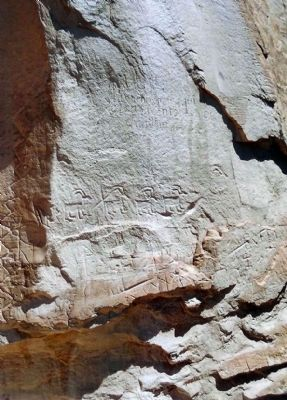 Some petroglyphs and carvings were made by the Anasazi image. Click for full size.
