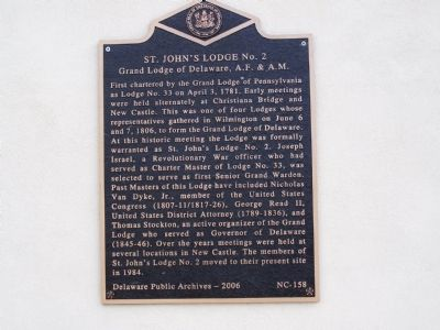 St. John's Lodge no. 2 Marker image. Click for full size.