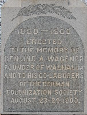 John A. Wagener Monument - East Side Photo, Click for full size