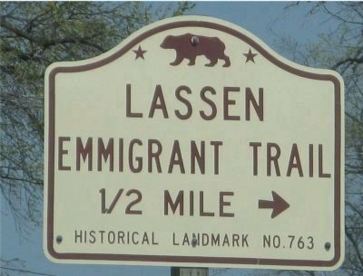 Lassen Emigrant Trail State Historic Landmark Directional Sign image. Click for full size.