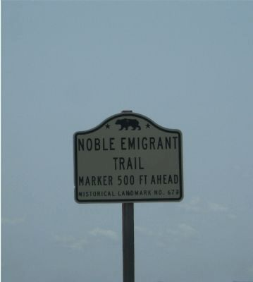 Noble Emigrant Trail State Historic Marker Directional Sign image. Click for full size.
