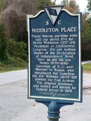 Middleton Place / Arthur Middleton Marker Photo, Click for full size