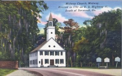 Midway Church, Midway. Erected in 1792 on U.S. Highway 17, South of Savannah, Ga. image. Click for full size.