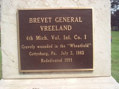 Plaque on the Grave of Michael J. Vreeland Photo, Click for full size