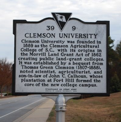 Clemson University Marker - Front Photo, Click for full size