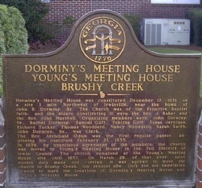 Dorminy's Meeting House Young's Meeting House Brushy Creek Marker image. Click for full size.