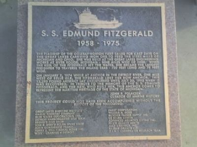 SS Edmund Fitzgerald Marker Photo, Click for full size