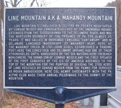 Line Mountain A.K.A. Mahanoy Mountain Marker image. Click for full size.