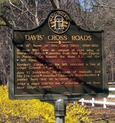 Davis' Cross Roads Marker Photo, Click for full size
