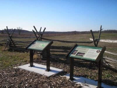 Markers on the Monmouth Battlefield image. Click for full size.
