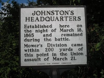 Johnston�s Headquarters Marker Photo, Click for full size