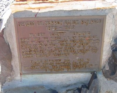 Nevada County Narrow Gauge Railroad Marker Photo, Click for full size