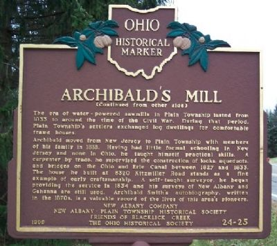 Archibald's Mill Marker (Side B) image. Click for full size.