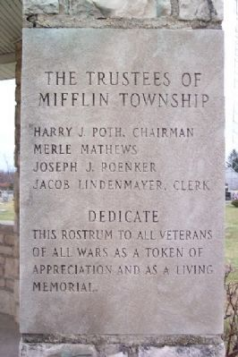 Mifflin Township Veterans Memorial Marker image. Click for full size.