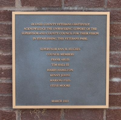 Oconee County Veterans Mamorial Marker Photo, Click for full size