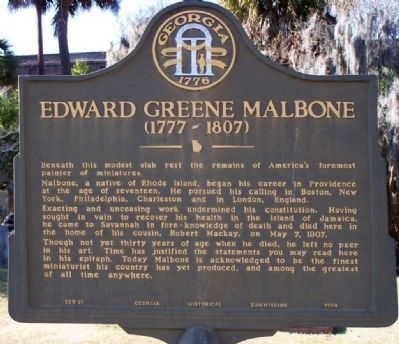 Edward Green Malbone (1777-1807) Marker image. Click for full size.