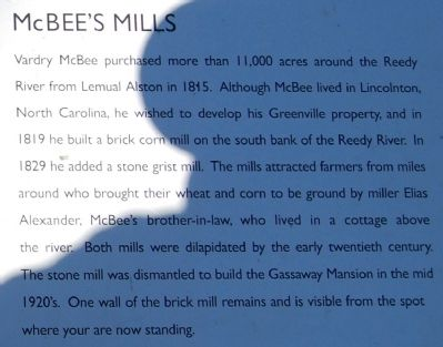 Hunting Grounds to Mill Town Marker - McBee's Mills image. Click for full size.