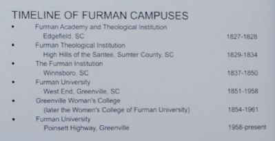 Furman University Marker - Timeline of Furman Campuses image. Click for full size.