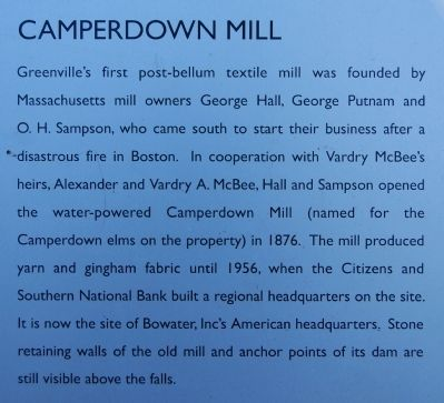 Old Mill Ruins Marker - Camperdown Mill image. Click for full size.