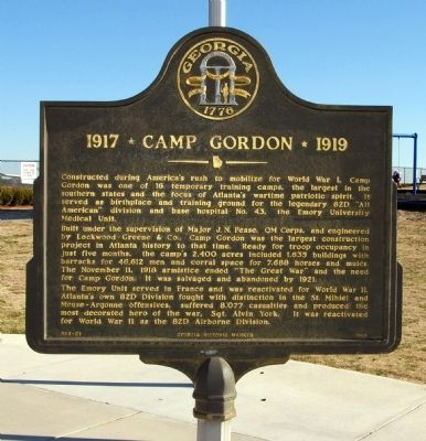 1917 * Camp Gordon * 1919 Marker Photo, Click for full size