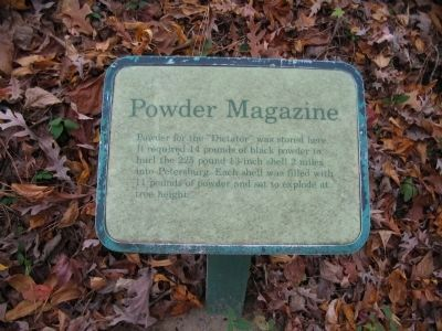 Close up of the Powder Magazine Sign Photo, Click for full size