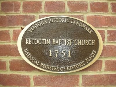 Ketoctin Baptist Church Marker image. Click for full size.