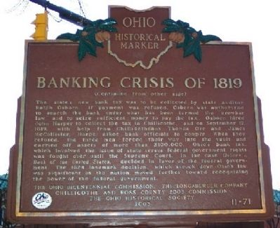Banking Crisis of 1819 Marker (Side B ) image. Click for full size.