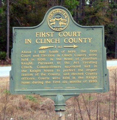 First Court in Clinch County Marker image. Click for full size.
