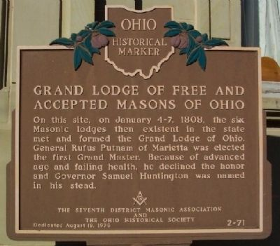 Grand Lodge of Free and Accepted Masons of Ohio Marker image. Click for full size.